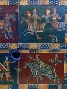 Knights on Horseback and King with a Falcon, 12th Century