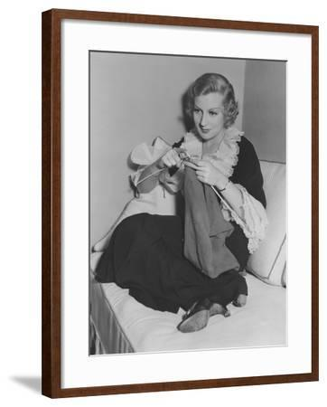 Knitting a Sweater--Framed Photo