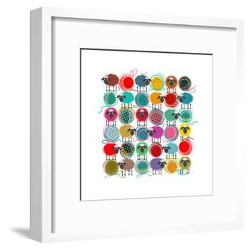 Knitting Yarn Balls and Sheep Abstract Square Composition. Vector EPS 8 Graphic Illustration of Bri-Popmarleo-Framed Art Print
