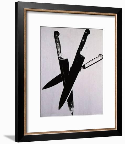 Knives, c.1981-82 (three black on cream)-Andy Warhol-Framed Art Print