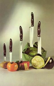 Knives Stuck in Vegetables, Retro