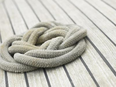 Knot of Rope on Wooden Boat Deck--Photographic Print
