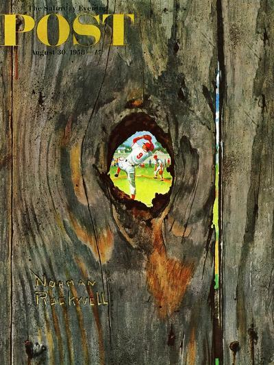 """""""Knothole Baseball"""" Saturday Evening Post Cover, August 30,1958-Norman Rockwell-Giclee Print"""