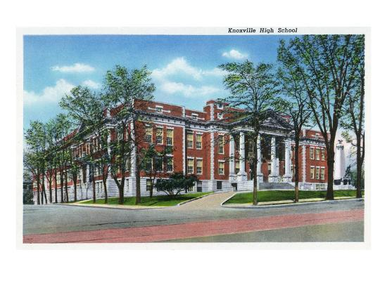 Knoxville, Tennessee - Exterior View of Knoxville High School-Lantern Press-Art Print