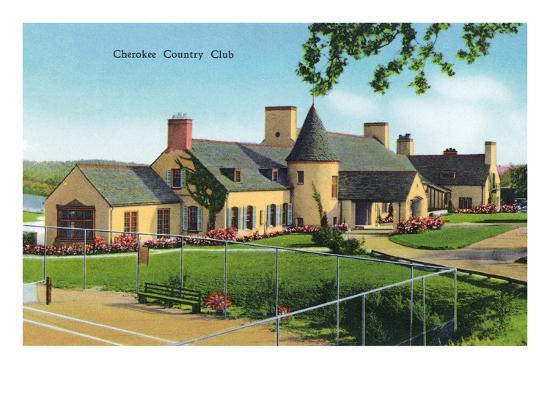 Knoxville, Tennessee - Exterior View of the Cherokee Country Club-Lantern Press-Art Print