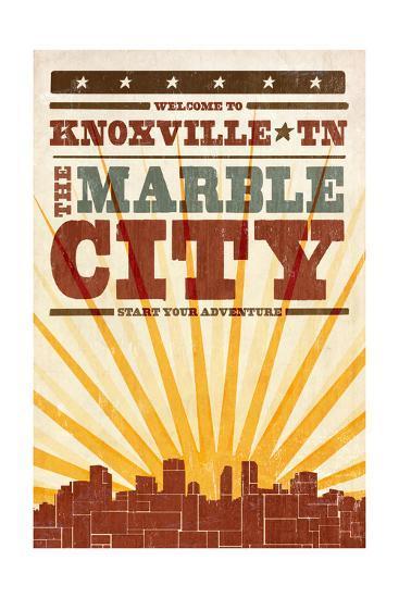 Knoxville, Tennessee - Skyline and Sunburst Screenprint Style-Lantern Press-Art Print