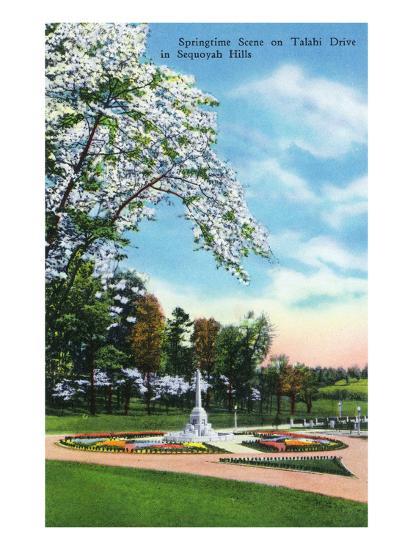 Knoxville, Tennessee - Springtime Scene on Talahi Drive in the Sequoyah Hills-Lantern Press-Art Print