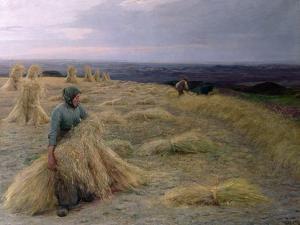 The Harvesters, Svinklov-VIIldemosen, Jutland by Knud Larsen