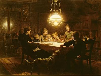 Family Supper in the Lamp Light, 19th Century