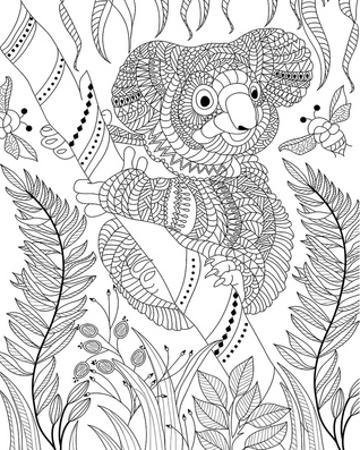Koala Bee And Bamboo Coloring Art