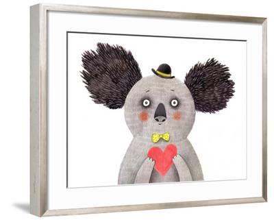 Koala with Heart. Watercolor and Pencil Drawing- lenaer-Framed Art Print