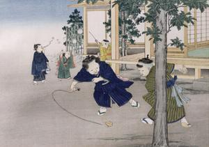 Spinning Top and Blowing Bubbles from the Series 'Children's Games', 1888 by Kobayashi Eitaku