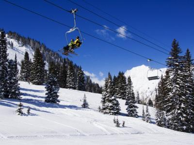 Chair Lift Carries Skiers at Alta, Alta Ski Resort, Salt Lake City, Utah, USA by Kober Christian