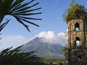 Church Belfry Ruins and Volcanic Cone, Bicol Province, Luzon Island, Philippines by Kober Christian