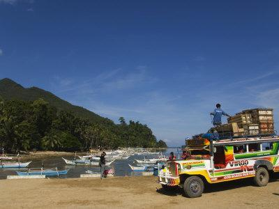 Colouful Jeepney Loading Up at Fishing Harbour, Sabang Town, Palawan, Philippines, Southeast Asia