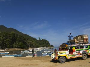 Colouful Jeepney Loading Up at Fishing Harbour, Sabang Town, Palawan, Philippines, Southeast Asia by Kober Christian