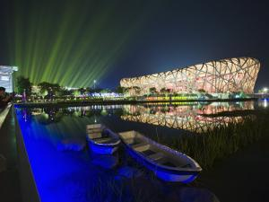 Night Time Light Show at the Birds Nest Stadium During the 2008 Olympic Games, Beijing, China by Kober Christian