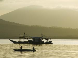 Silhouette of Fishing Boat at Sunset, Puerto Princesa, Palawan, Philippines, Southeast Asia by Kober Christian