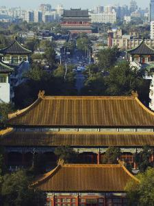 Temple Buildings in Jingshan Park Looking Down to the Drum Tower in the Distance, Beijing, China by Kober Christian