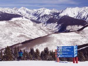 Trail Marker Below the Gore Mountains at Vail Ski Resort, Vail, Colorado, USA by Kober Christian