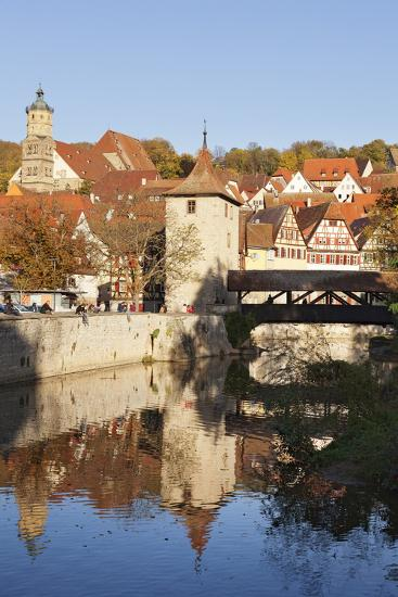 Kocher River and Old Town, Schwaebisch Hall, Hohenlohe, Baden Wurttemberg, Germany, Europe-Markus Lange-Photographic Print