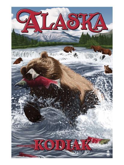Kodiak, Alaska - Grizzly Bear Fishing-Lantern Press-Art Print