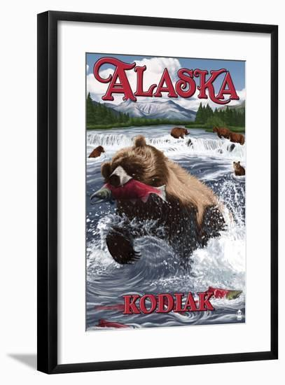 Kodiak, Alaska - Grizzly Bear Fishing-Lantern Press-Framed Art Print