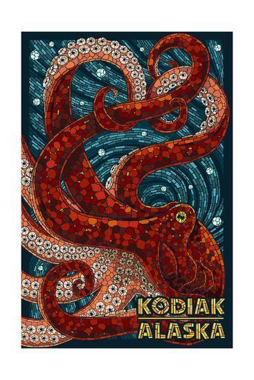 Kodiak, Alaska - Octopus Mosaic-Lantern Press-Art Print