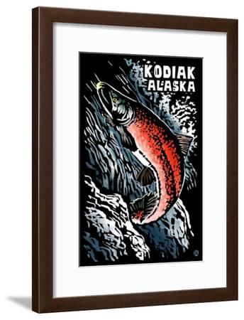 Kodiak, Alaska - Salmon Scratchboard-Lantern Press-Framed Art Print
