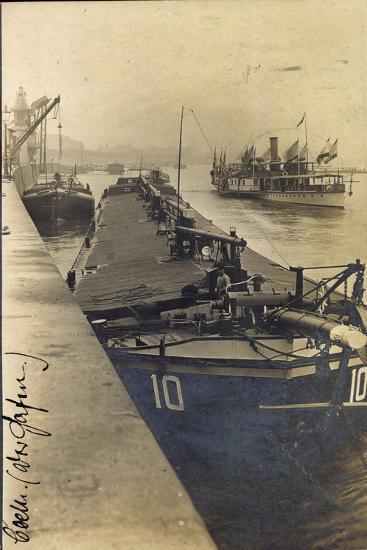 Köln, Lastkahn Im Hafen, Dampfschiff, Matrose, Kräne--Giclee Print