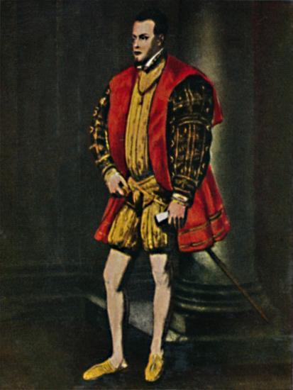'König Philipp II. Von Spanien 1527-1598. - Gemälde von Tizian', 1934-Unknown-Giclee Print