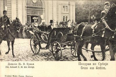 König Von Serbien in Offener Kutsche, Uniformen--Giclee Print