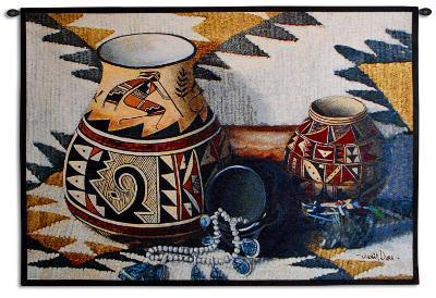 Kokopelli Pot-Judith Durr-Wall Tapestry