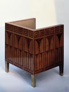 Art Deco Style Chair Inlaid with Satinwood and Brass by Kolo Moser