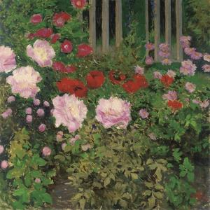 Flowers and Garden Fence; Bluhende Blumen Am Gartenzaun by Kolo Moser