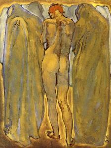 Back of a Nude Woman with Ghosts by Koloman Moser