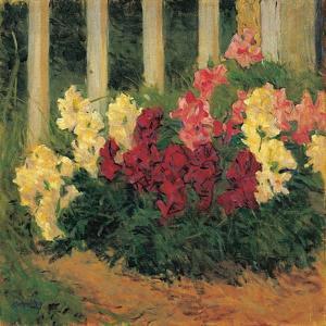 Blumenstrauch vor Gartenzaun - Flowers in front of a garden fence 1909 by Koloman Moser