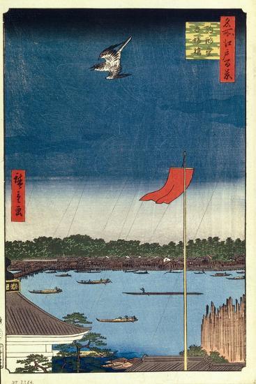 Komakata Hall and Azuma Bridge (One Hundred Famous Views of Ed), 1856-1858-Utagawa Hiroshige-Giclee Print