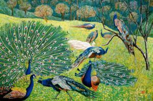 A Group of Peacocks by Komi Chen