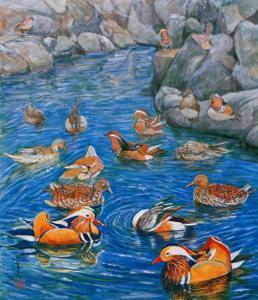 Mandarin Ducks by Komi Chen