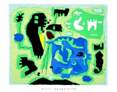 Komposition in Grun, c.1954-Willi Baumeister-Serigraph