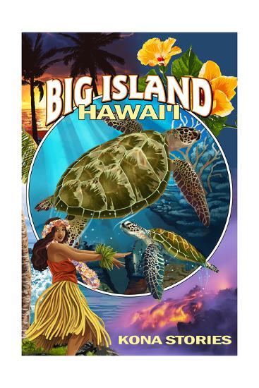 Kona, Hawaii - Big Island Montage-Lantern Press-Art Print