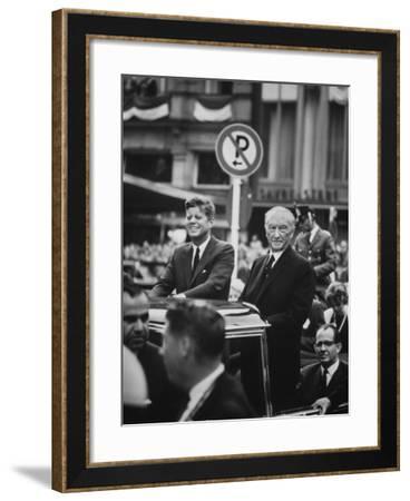 Konrad Adenauer with President John F. Kennedy-John Dominis-Framed Photographic Print