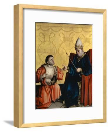 Antipater Kneeling before Juilus Caesar from the Heilspiegel Altarpiece, C.1435
