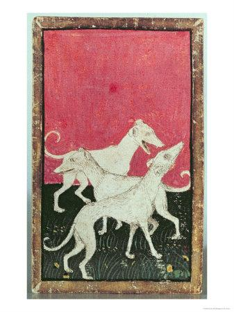 Three Hunting Dogs, One of a Set of Playing Cards, Courtly Hawking, Upper Rhein Are, c.1440-45