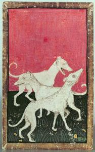 Three Hunting Dogs, One of a Set of Playing Cards, Courtly Hawking, Upper Rhein Are, c.1440-45 by Konrad Witz