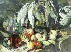Fish, Wine and Fruit by Konstantin A. Korovin