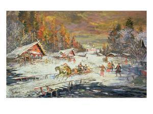 The Russian Winter, 1900-10 by Konstantin A. Korovin