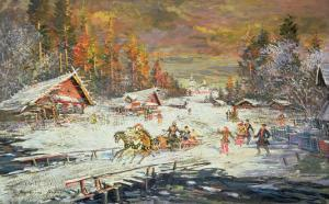 The Russian Winter, 1900-10 by Konstantin A. Korovin