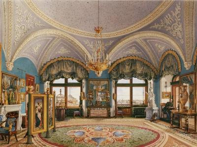 Interiors of the Winter Palace, the Corner Drawing Room of Emperor Nicholas I, Mid of the 19th C